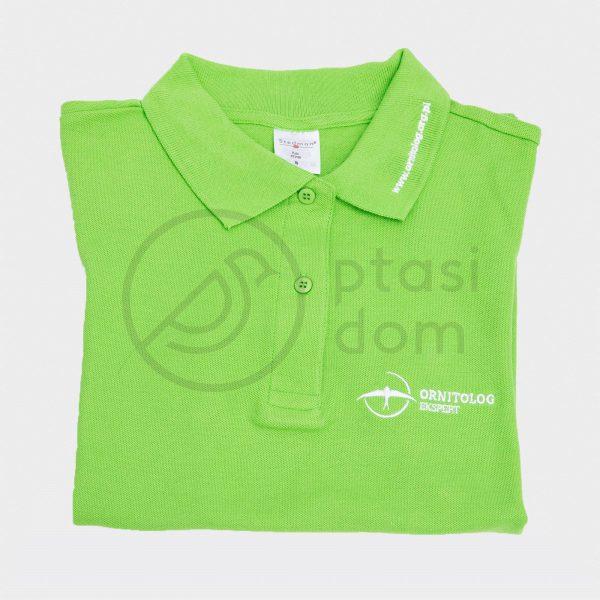 zielona koszulka polo z logo ptasi dom