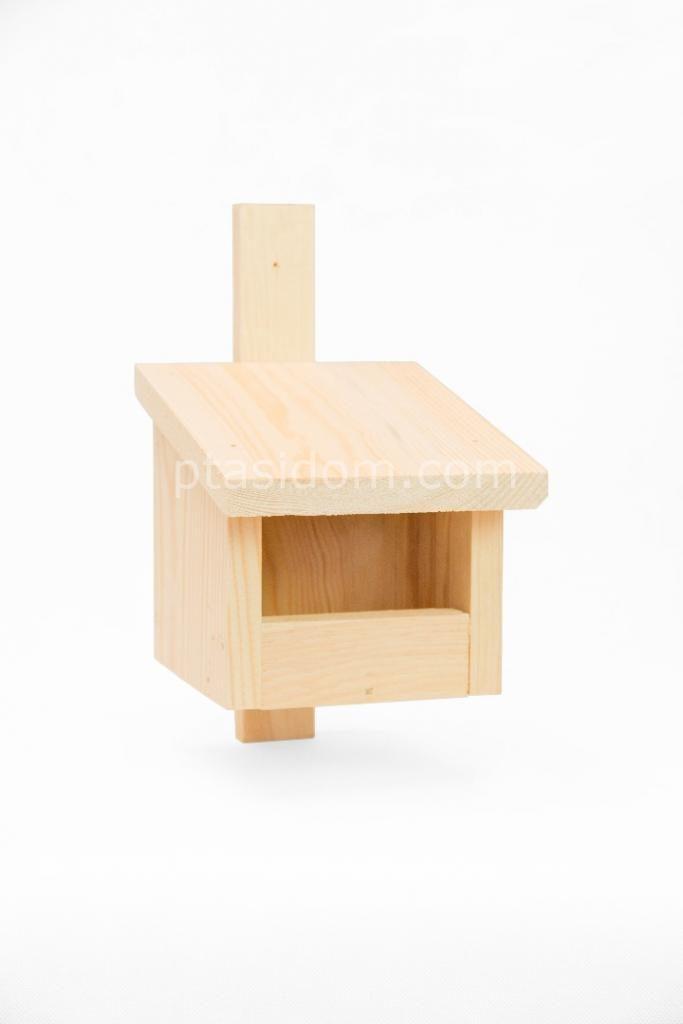 Budka lęgowa półotwarta z drewna